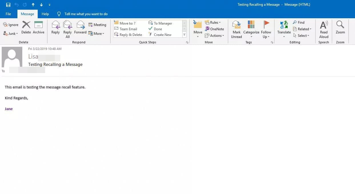 How to recall an email in Outlook: Double-click the message you want to recall