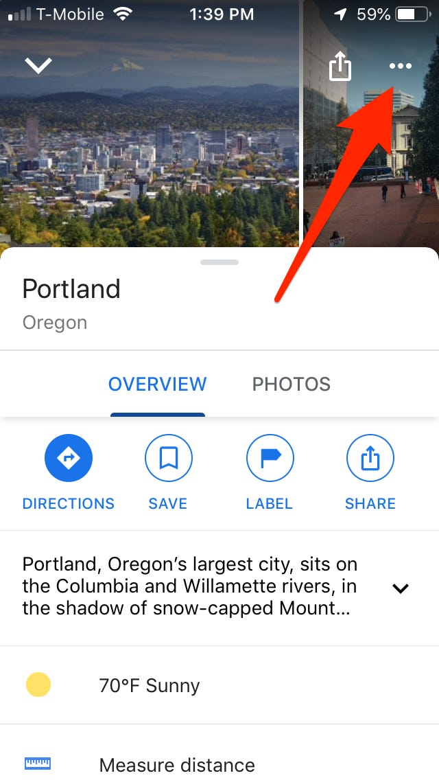 how to download google maps on iPhone: tap the three horizontal dots at the top right corner of the screen