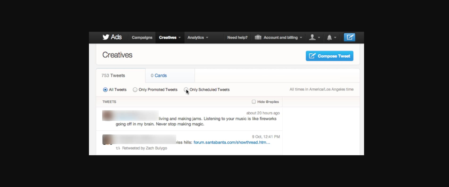 How to schedule tweets on Twitter: tap Only Scheduled Tweets