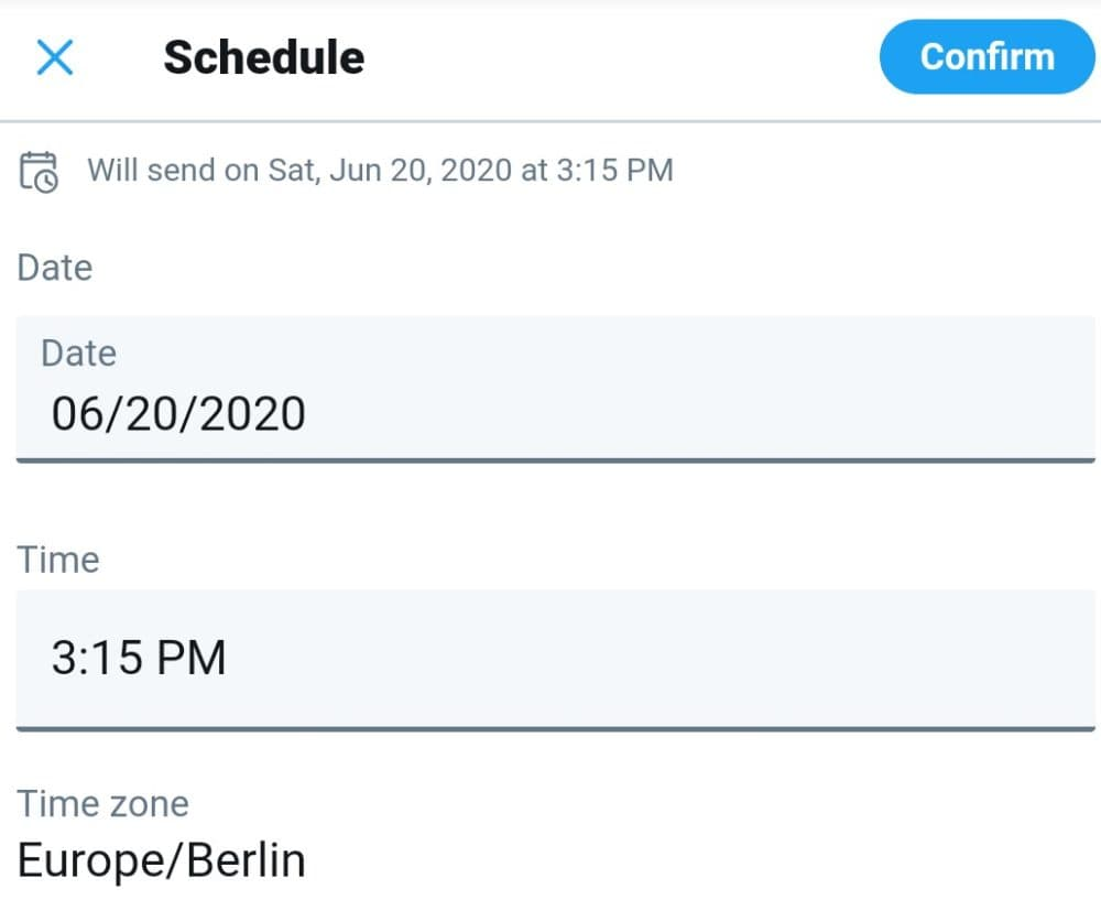 how to schedule tweets on Twitter mobile: add details and confirm