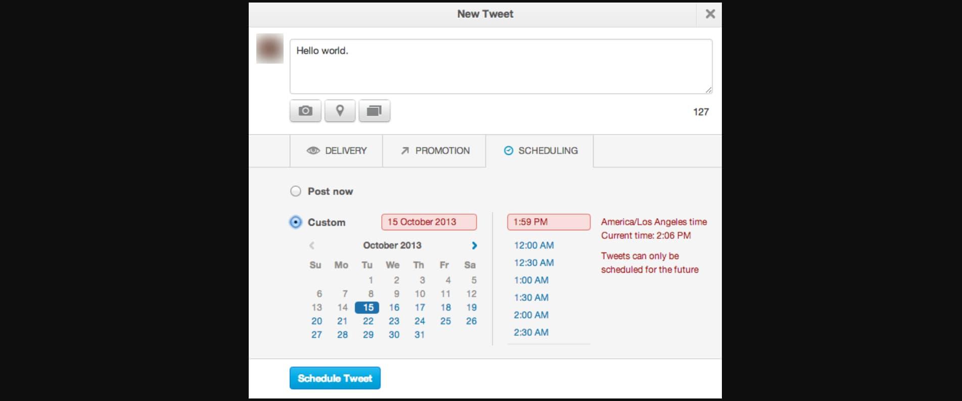 Click Schedule Tweets