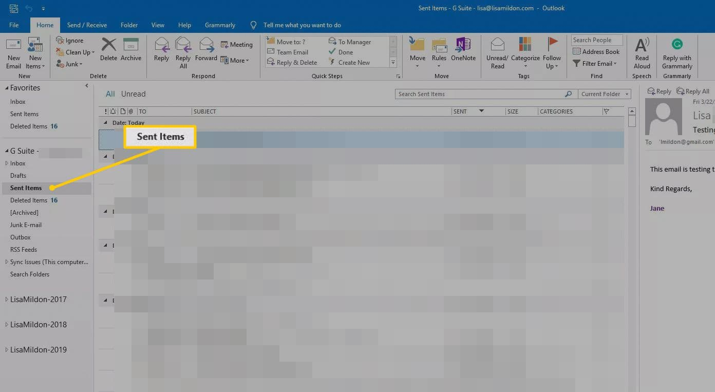 How to recall an email in outlook: Click sent items