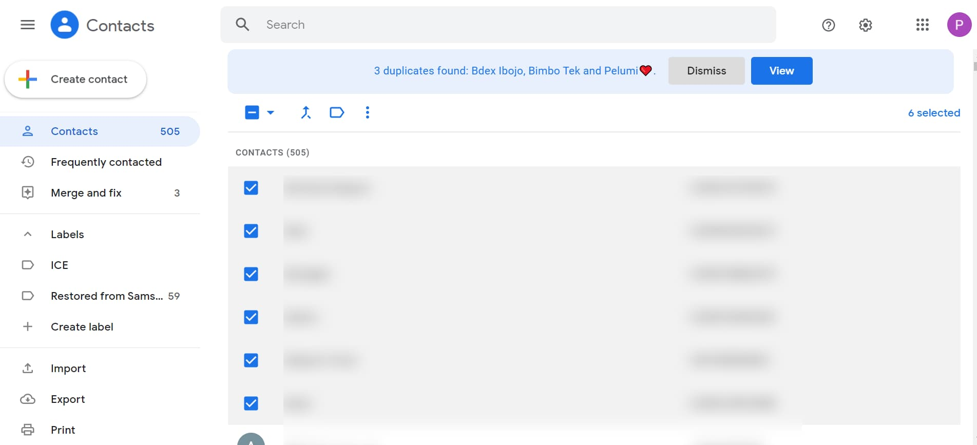 how to create an email group in Gmail: check the boxes