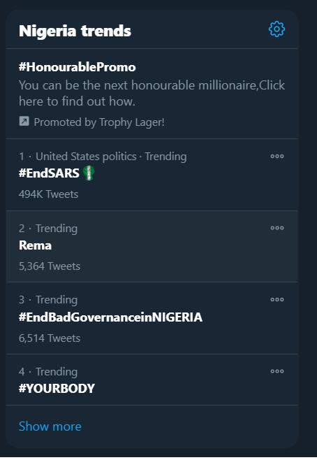 #EndSars returns to the top of twitter trending topi