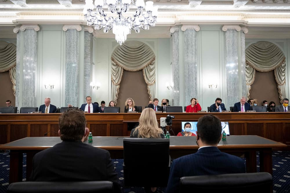 Committee Senators listen as former Facebook employee and whistleblower Frances Haugen (center) testifies before a Senate Committee on Commerce, Science, and Transportation hearing on Capitol Hill, October 5, 2021, in Washington, DC. Image Credits: DREW ANGERER/POOL/AFP via Getty Images